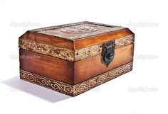 antique engraved wooden jewelry box