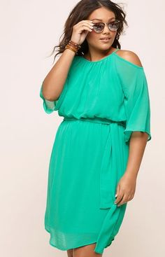 Plus Size Chiffon Cold Shoulder Dress