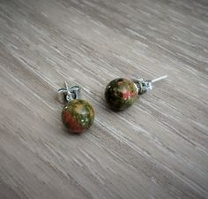 A personal favorite from my Etsy shop https://www.etsy.com/ca/listing/228536705/unakite-simple-stud-earrings-natural