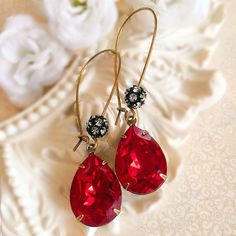 Bridesmaid Gifts  Red Earrings  Crystal Earrings  Ruby