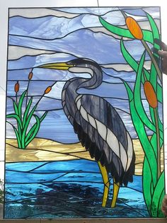 This Stained glass Window Blue Heron is just one of the custom, handmade pieces you'll find in our home décor shops. Stained Glass Birds, Stained Glass Designs, Stained Glass Panels, Stained Glass Projects, Stained Glass Patterns, Motifs Animal, Glass Animals, Blue Heron, Glass Texture