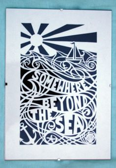 art papercut somewhere beyond the sea white paper