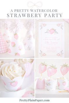 1st Birthday Party Decorations, First Birthday Parties, First Birthdays, Gingham Party, Pink Gingham, First Birthday Theme Girl, Third Birthday, Strawberry Baby, Bubble Party