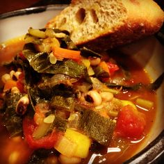 Got my black eyed peas in today in this delicious homemade veggie soup! Yum!