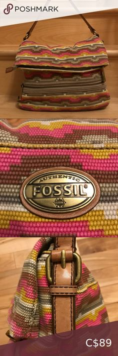 Fossil shoulder bag/hobo Gorgeous NWOT vibrant woven Fossil bag with leather strap. Impeccable mint condition inside & out. Gorgeous hues of hot pink & mustard with leather straps, magnet under leather closure and heavy-duty zips. Various interior compartments. Bags Shoulder Bags Vuitton Bag, Louis Vuitton Handbags, Cork Purse, Concealed Carry Purse, Louis Vuitton Shoulder Bag, Fossil Bags, Knitted Bags, Vintage Louis Vuitton