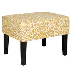 angelo:HOME Brighton Hill Modern Damask Golden Yellow and Cream Small Bench - Overstock Shopping - Great Deals on ANGELOHOME Ottomans