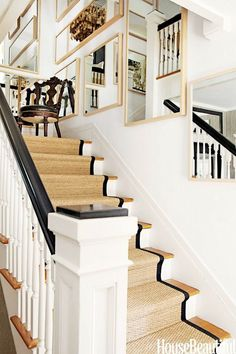 sisal stair runner with black trim -mountain house stairs Staircase Runner, House Design, House, Hollywood Hills Homes, New Homes, Beautiful Homes, House Interior, Modern Farmhouse Design, Stairs