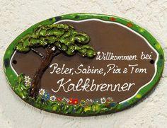 """Keramik Türschild """"Blumenwiese"""", wetterfestes Namensschild"""