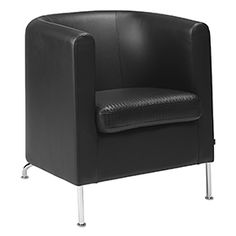 With their trim format, the CLUB easy chair and twoseat sofa are easy to place and use. Structure of solid wood and formed plywood. Legs with powder coating are also available in chrome. Club is fully upholstered with a choice of upholstery. Removable cover and leather trim are available as options.