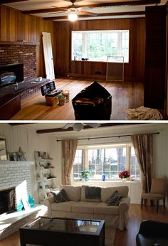 Before & After Family Room! Amazing the difference paint can make. Pinned for you by Tonyeil Spencer - Spencer Realty, LLC - 1-800-349-6702