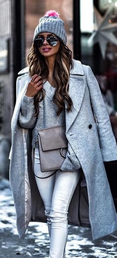 #winter #outfits gray long coat and bobble hat. Pic by @fashionista_east.
