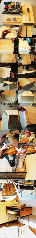 Mesita DIY con pies hairpin - Vía www.homedit.com