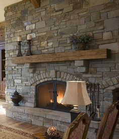 [New] The 10 Best Home Decor (with Pictures) - Sweet and tidy & simple but truly inspirational Very nice arch which is build with double layer of stone and mortar bed rake out gives to this fireplace uniqueness which it deserves Stone Fireplace Designs, Rustic Fireplace Mantels, Cabin Fireplace, Farmhouse Fireplace, Fireplace Remodel, Fireplace Surrounds, Rustic Farmhouse, Fireplace Stone, Mantle