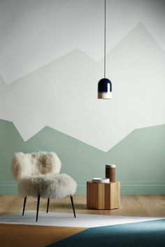 Pictures on request geometric mountain wall painting – Decoration Room Wall Painting, Room Paint, Creative Wall Painting, Half Painted Walls, Half Walls, Geometric Wall Paint, Wall Paint Patterns, Bedroom Wall Designs, Room Decor