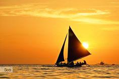 Boracay Sunset by MehmetaliKksalan  Boracay Philippines Island Sunset Boat Sea Travel MehmetaliKksalan