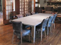 Concrete Table - Wood Base - traditional - Dining Room - New York - Trueform Concrete--the addition of the leather chairs with studs might warm up the concrete and wood look Concrete Dining Table, Wood Table Bases, Concrete Kitchen, Dining Table Design, Dining Table In Kitchen, Patio Table, Dining Room, Traditional Dining Tables, Contemporary Dining Table