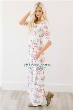 The Lyla in Ivory Floral Maxi Dress with Pockets. So cute and so soft!