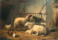 Sheep In A Stable oil painting reproduction by Eugene Joseph Verboeckhoven - NiceArtGallery.com