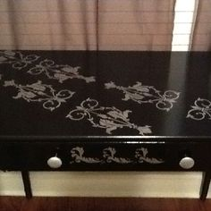 Refurbished desk with stencil