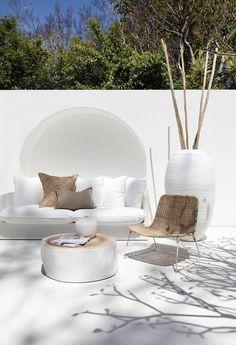 The white Singita Outdoor Sofa range is crafted with a durable aluminium frame a. - future - The white Singita Outdoor Sofa range is crafted with a durable aluminium frame and decorative white - Outdoor Sofa, Outdoor Spaces, Outdoor Living, Outdoor Fabric, Home Interior Design, Interior And Exterior, Beton Design, Three Seater Sofa, Ibiza