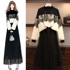 Autumn and winter age-old dress set was thin two-piece suit Korean Girl Fashion, Muslim Fashion, Asian Fashion, Look Fashion, Hijab Fashion, Fashion Drawing Dresses, Fashion Illustration Dresses, Fashion Dresses, Fashion Design Drawings