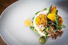 Asparagus tartare | fried egg orange gelee aleppo buttered brioche ...