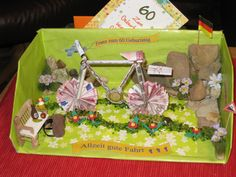 Geldgeschenk für ein Fahrrad: Bild 3: Geldgeschenk für ein Fahrrad 3. Letztens musste ich ein Fahrrad-Geldgeschenk für meinen lieben Schwager zum Geburtstag basteln und das sah so aus: Bastelanleitung: Schuhkarton auskleben, mit…