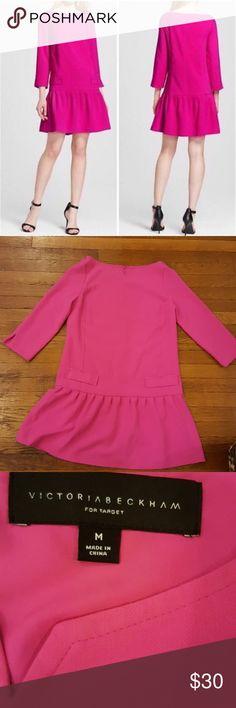 "Victoria Beckham for Target Fuchsia Jacquard dress Beautiful Victoria Beckham for Target hot pink dress.3/4 sleeves with shoulder slits, drop waist, and a zipper back. Perfect classy dress. Bust 19"" Length 33"" Victoria Beckham for Target Dresses"