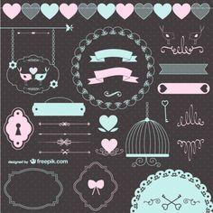 Amor casamento elementos gráficos retro Vetor grátis