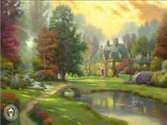 Thomas Kinkade Lakeside Manor painting for sale - Thomas Kinkade Lakeside Manor is handmade art reproduction; You can buy Thomas Kinkade Lakeside Manor painting on canvas or frame. Art Black Love, Lakeside Manor, Thomas Kinkade Art, Kinkade Paintings, Thomas Kincaid, Art Thomas, Disney Paintings, Paintings Famous, Famous Artists
