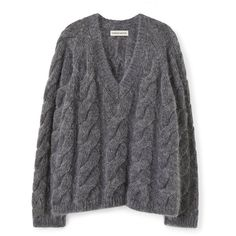 Mohair Cable Knit V-Neck ❤ liked on Polyvore featuring tops, sweaters, v neck sweater, oversized grey sweater, oversized cable knit sweater, oversized sweaters and grey sweater