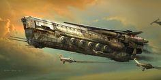 Robota Ship robot battleship, Eddie Del Rio on ArtStation at https://www.artstation.com/artwork/e3bww