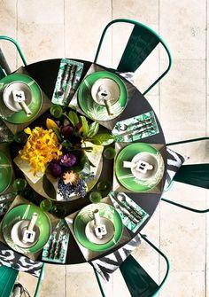 Emerald green table.