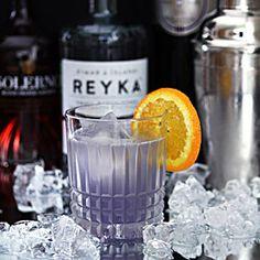A gorgeous cocktail featuring vodka from Iceland, blood orange liqueur and Creme de Violette.