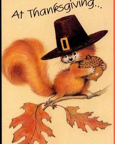 Perky Pilgrim Squirrel with Acorn Harvest Thanksgiving Greeting Card | eBay