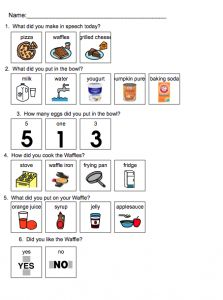 Visual comprehension questions for Pumpkin Waffles