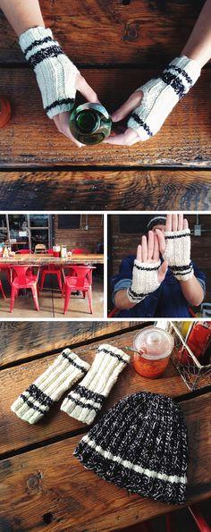 Free knitting pattern: Stadium Mitts and hat