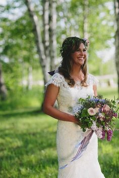 Spring wedding dress + hair idea - fitted, lace wedding dress with lush bouquet and flower + greenery headband {E.C. Campbell Photography}