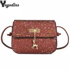80f68e2c498 Glitter Women Messenger Shoulder Bag Shining PU Leather Party Day Clutches  Purses Handbags Deer Sequin Decor