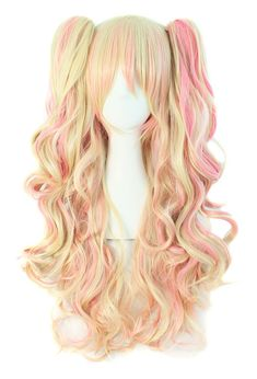 MapofBeauty Multi-color Lolita Long Curly Clip on Ponytails Cosplay Wig (Blonde/ Pink) Anime Wigs, Anime Hair, Manga Hair, Cosplay Hair, Cosplay Wigs, Anime Cosplay, Kawaii Hairstyles, Cute Hairstyles, Pastel Wig