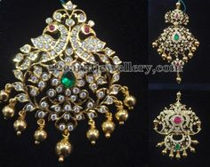 Peacock and floral work 22 carat gold designer pendants with rose cut diamonds, emeralds and rubies all over. Gold balls hanging in the b. Jewelry Design Earrings, 14k Gold Jewelry, Pendant Jewelry, Bridal Jewelry, Diamond Jewelry, Jewelry Stand, Gold Earrings, Antique Jewelry, Indian Jewellery Design