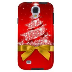 Christmas Tree Red Ribbon Bow Holiday Samsung Galaxy S4 Case.