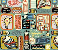 Reading and Writing fabric by gsonge on Spoonflower