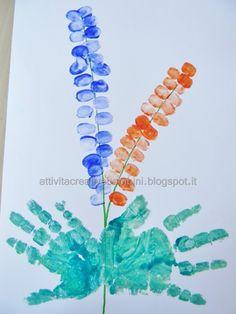 Attività Creative Per Bambini: Fiore con impronte digitali