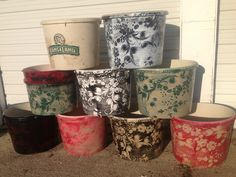 Upcycled Flower Pots Using Rangeland Mineral Tubs Plastic Spray Paint And An Old Lace