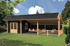 met veranda In this Kapschuur there is seating for the best of all . Backyard Sheds, Outdoor Sheds, Backyard Patio, Backyard Landscaping, Barn House Plans, Cabin Plans, Shed Plans, Gazebo On Deck, Pergola Kits