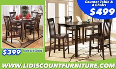Counter Table & 4 Chairs ONLY $499 WWW.LONGISLANDDISCOUNTFURNITURE.COM