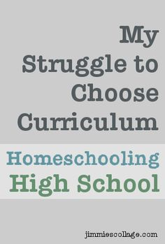 The Pain of Making Curriculum Choices for Homeschool High School