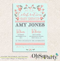 BABY GARDEN Custom Baby Shower Invitation Card by ohsoparty