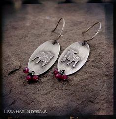 New ruby and sterling silver bulldog earrings www.lissaharlindesigns.com